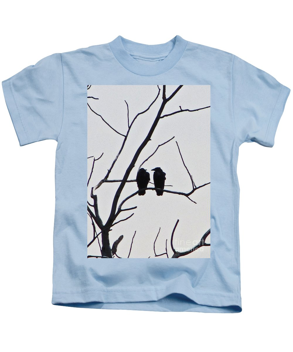 Bird Kids T-Shirt featuring the photograph Pair Of Birds In Black by Minding My Visions by Adri and Ray