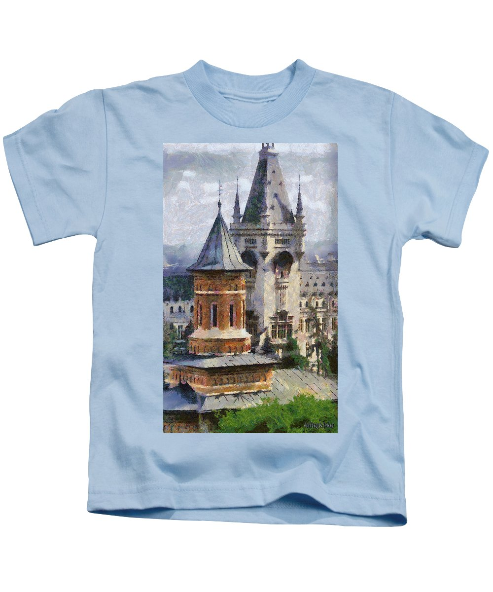 Chapel Kids T-Shirt featuring the painting Palace Of Culture by Jeffrey Kolker