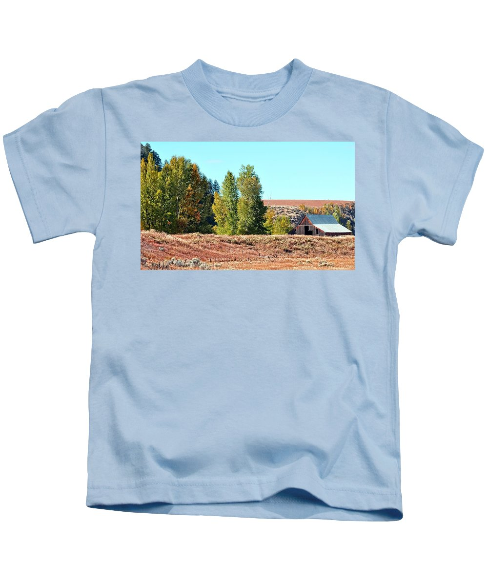 Barn Kids T-Shirt featuring the photograph Palisades Idaho by Image Takers Photography LLC