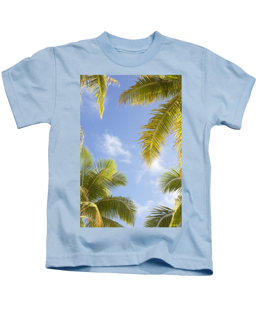 Blue Kids T-Shirt featuring the photograph Palms And Sky by Brandon Tabiolo