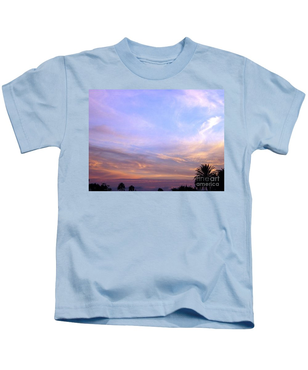 Sunset Kids T-Shirt featuring the photograph Palms In Shadow Of Sunset by Jussta Jussta