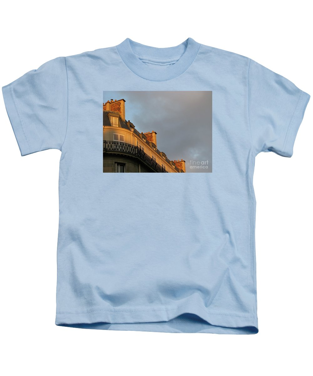 Paris Kids T-Shirt featuring the photograph Paris At Sunset by Ann Horn