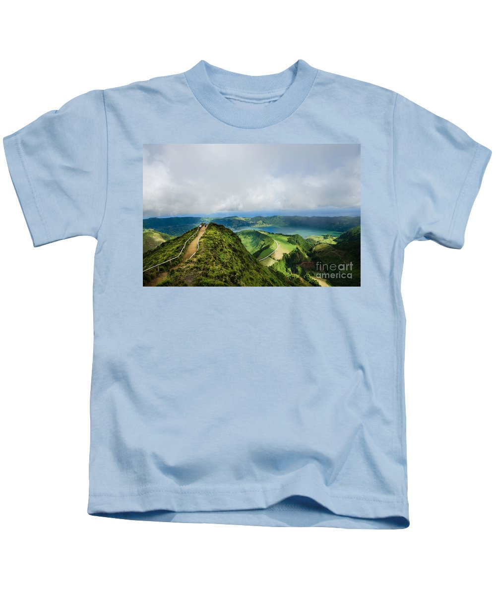 Landscape Kids T-Shirt featuring the photograph Path To The Lakes by Marco Andrade