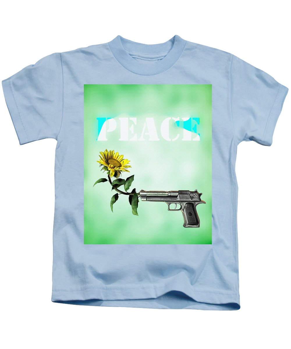 Sunflower Kids T-Shirt featuring the digital art Peace by Bob Orsillo