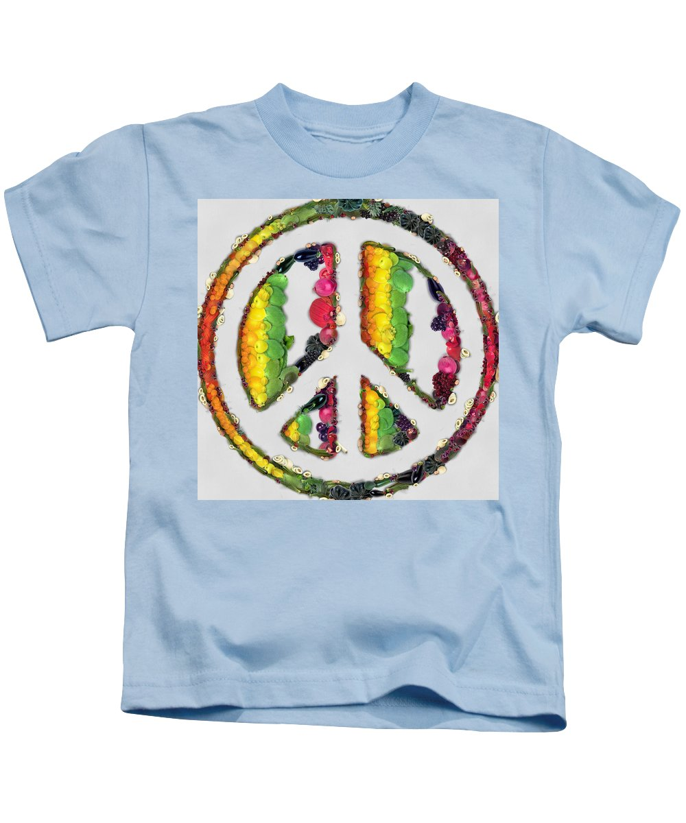 Peace Kids T-Shirt featuring the painting Peace Sign Fruits And Vegetables by Eti Reid