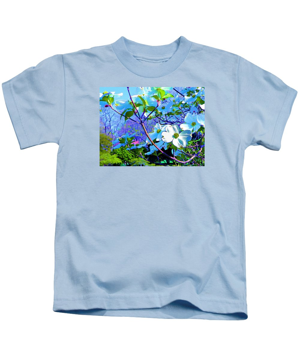 Print On Canvas Kids T-Shirt featuring the painting Peaceful Dogwood Spring by Susanna Katherine