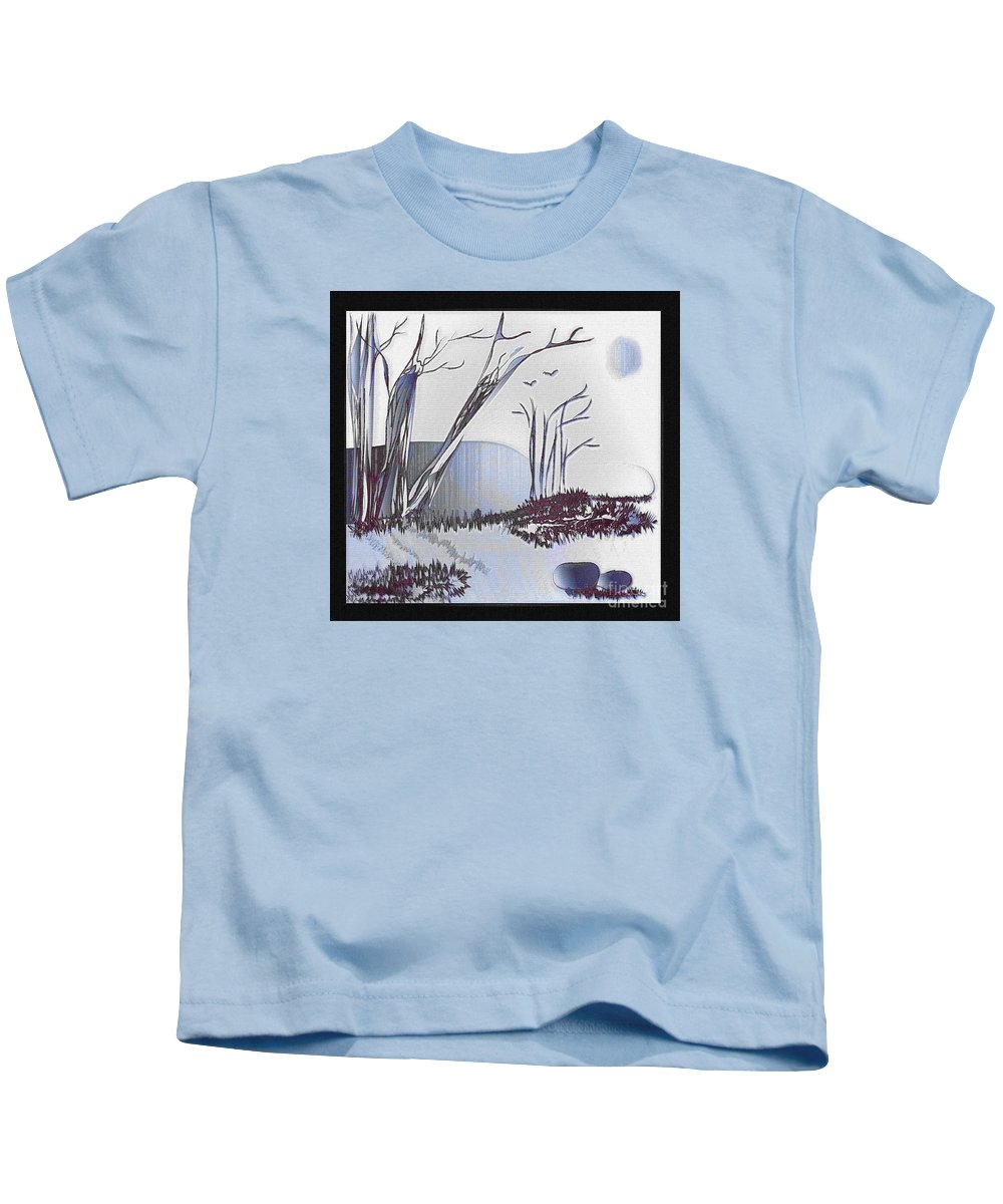 Landscape Kids T-Shirt featuring the painting Peacefulness by Iris Gelbart