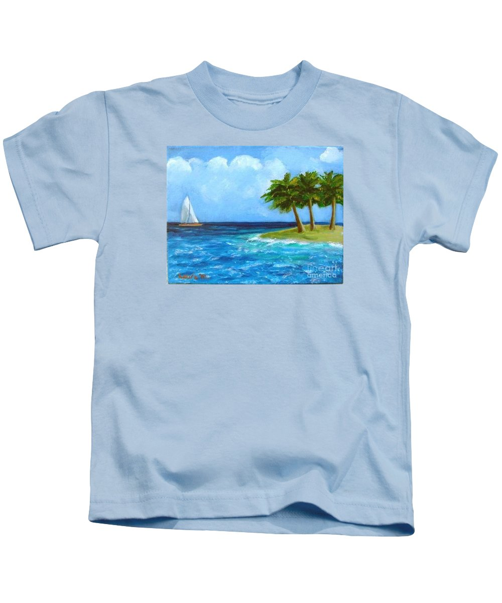 Boats Kids T-Shirt featuring the painting Perfect Sailing Day by Laurie Morgan