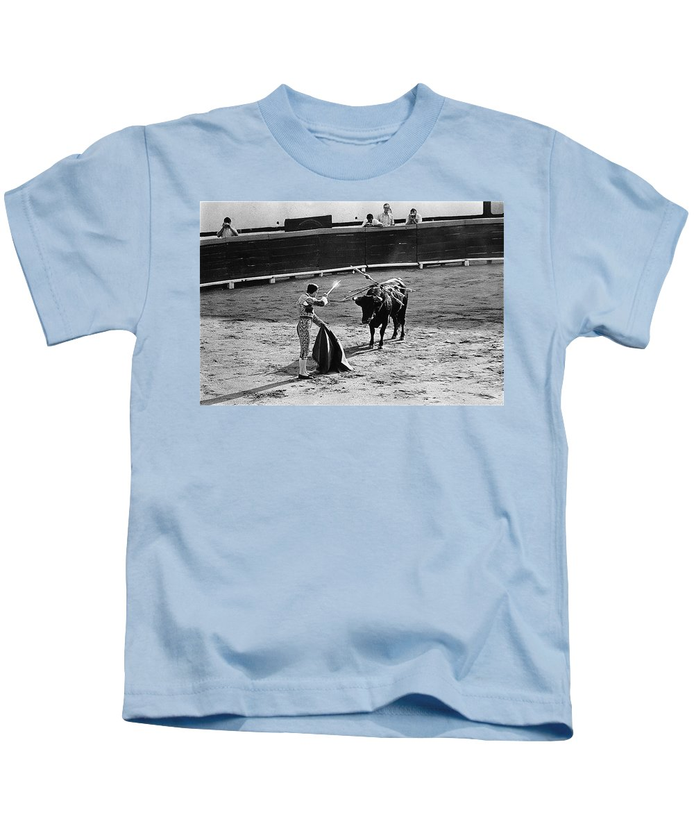 Photographers Including Dick Frontain Bullfight Nogales Sonora Mexico 1969 Ted Degrazia Kids T-Shirt featuring the photograph Photographers Including Dick Frontain Bullfight Nogales Sonora Mexico 1969 by David Lee Guss
