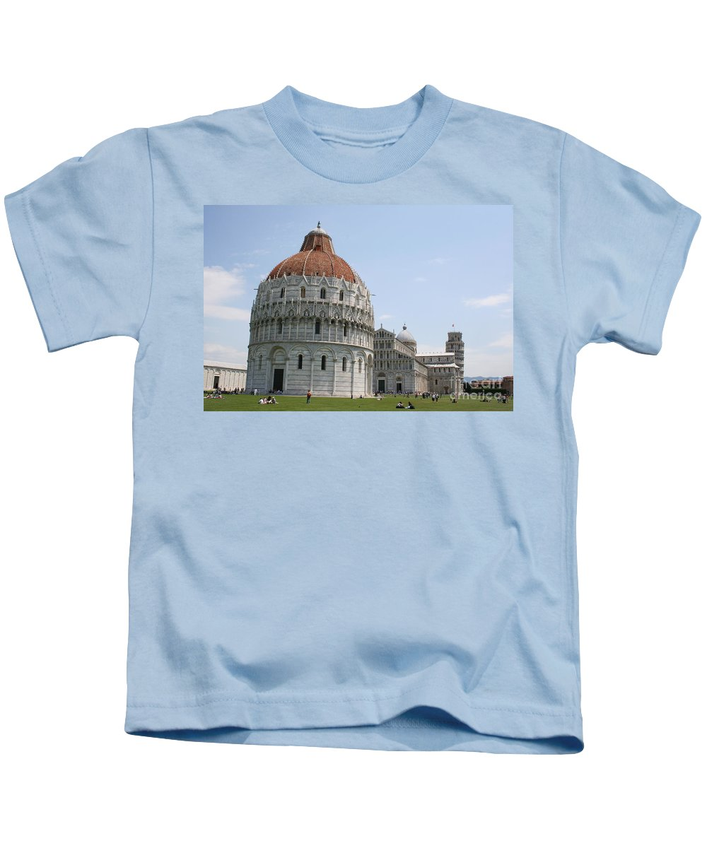 Bapistery Kids T-Shirt featuring the photograph Piazza Del Duomo Pisa by Christiane Schulze Art And Photography