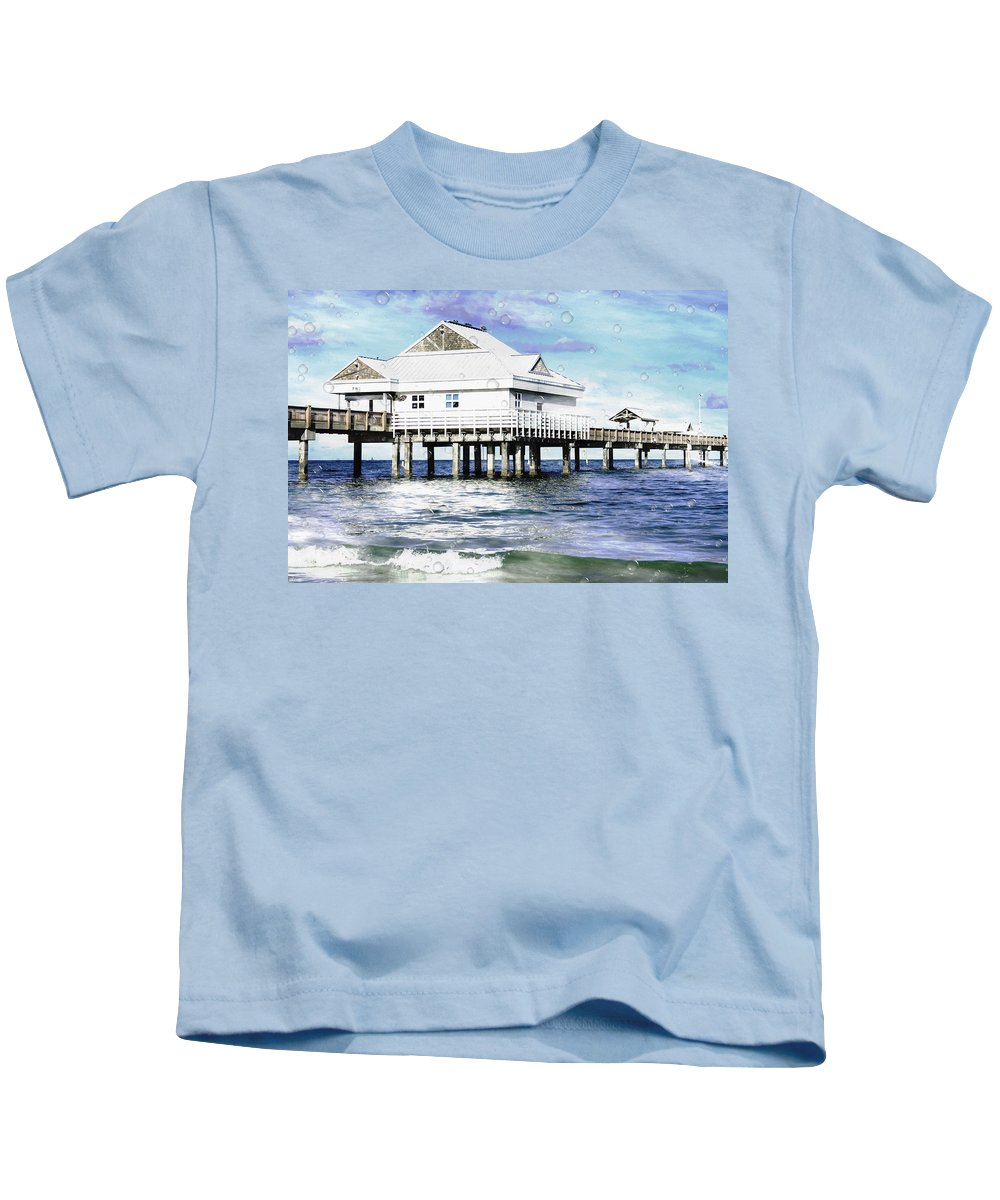 Pier 60 Kids T-Shirt featuring the painting Pier 60 by L Wright