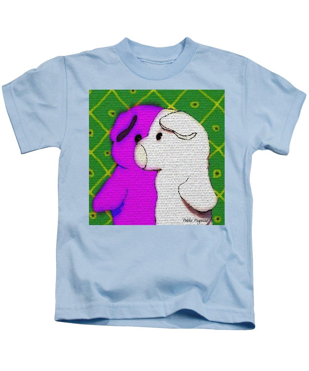 Pablo Kids T-Shirt featuring the digital art Pigasso by Piggy