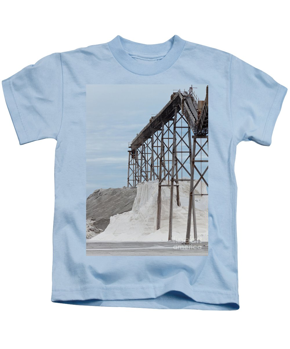 Belt Kids T-Shirt featuring the photograph Pile Of Sea Salt Under Conveyor Of Saline Refinery by Stephan Pietzko