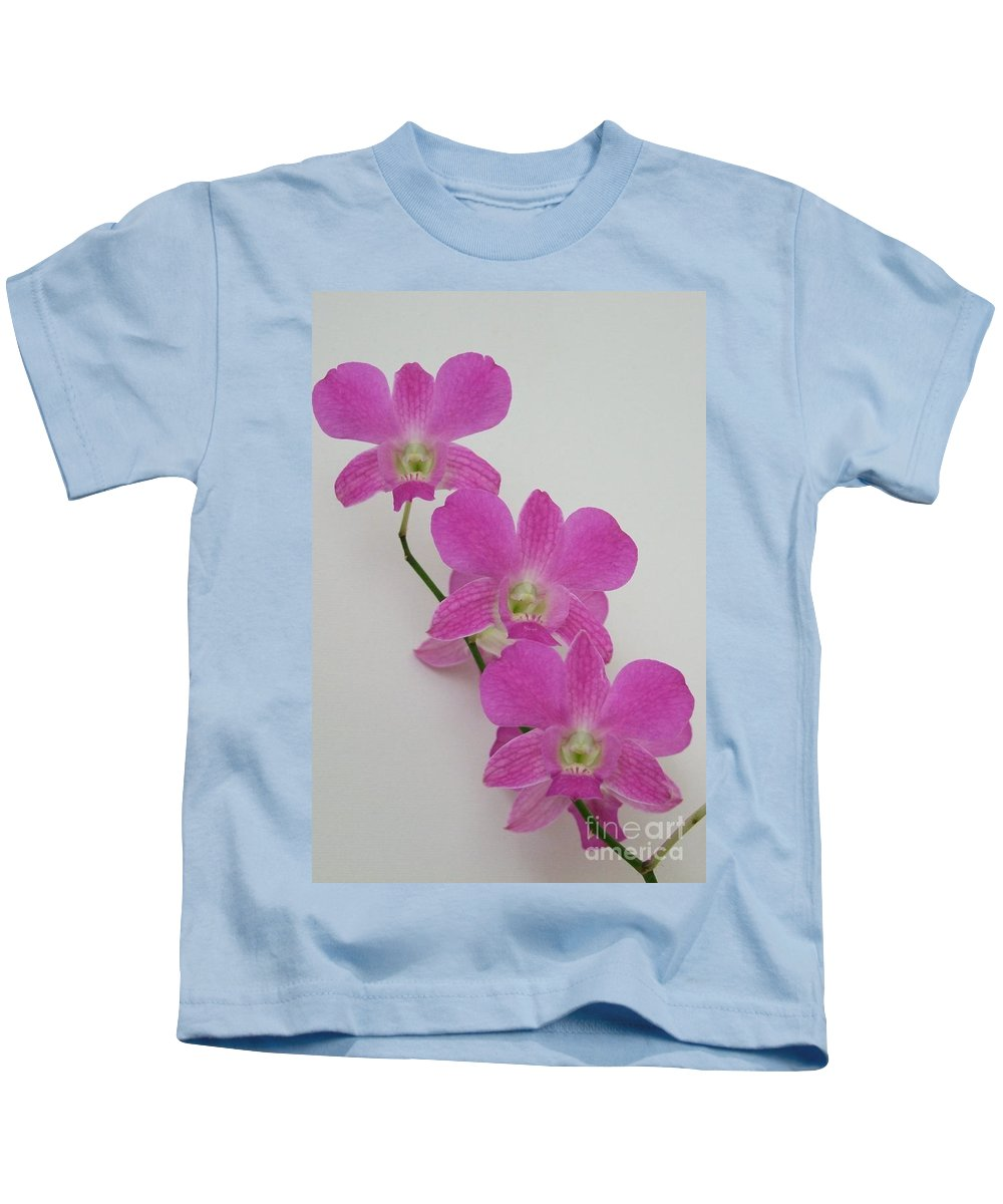 Pink Kids T-Shirt featuring the photograph Pink Orchids 1 by Mary Deal