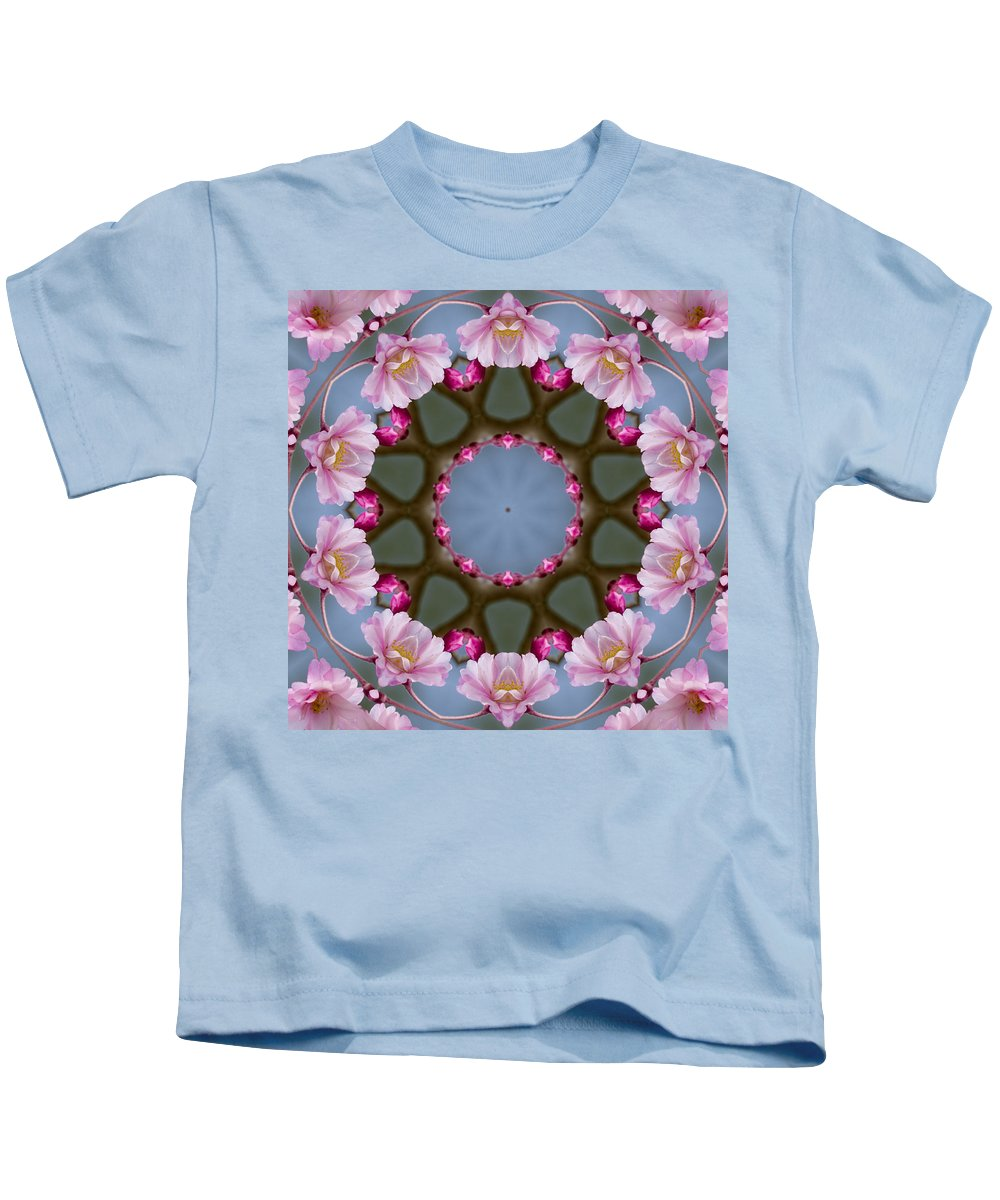 Pink Kids T-Shirt featuring the photograph Pink Weeping Cherry Blossom Kaleidoscope by Kathy Clark