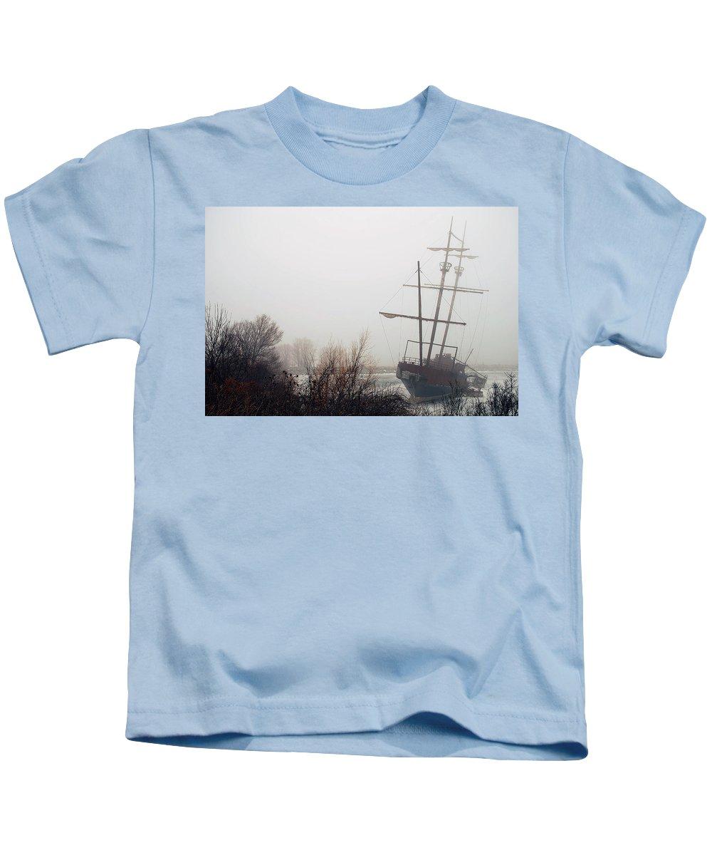 Fog Kids T-Shirt featuring the photograph Pirate Ship by Les Lorek