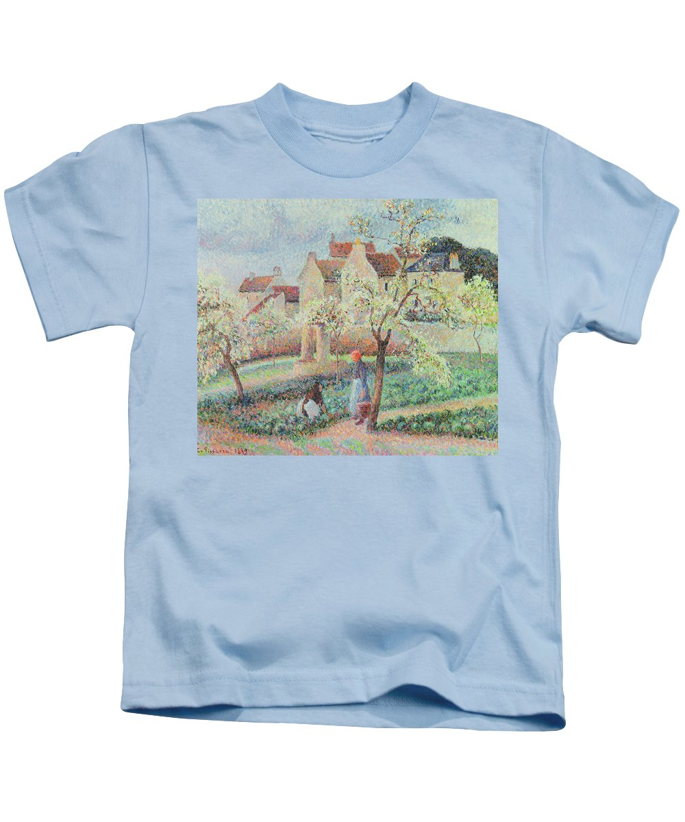 Impressionist Kids T-Shirt featuring the painting Plum Trees In Flower by Camille Pissarro