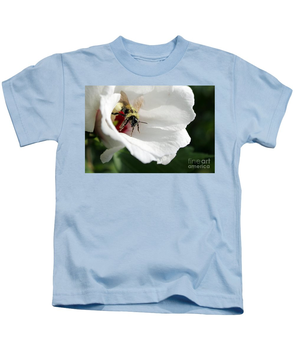 Bumblebee Kids T-Shirt featuring the photograph Pollenated Bumblebee by Renee Croushore