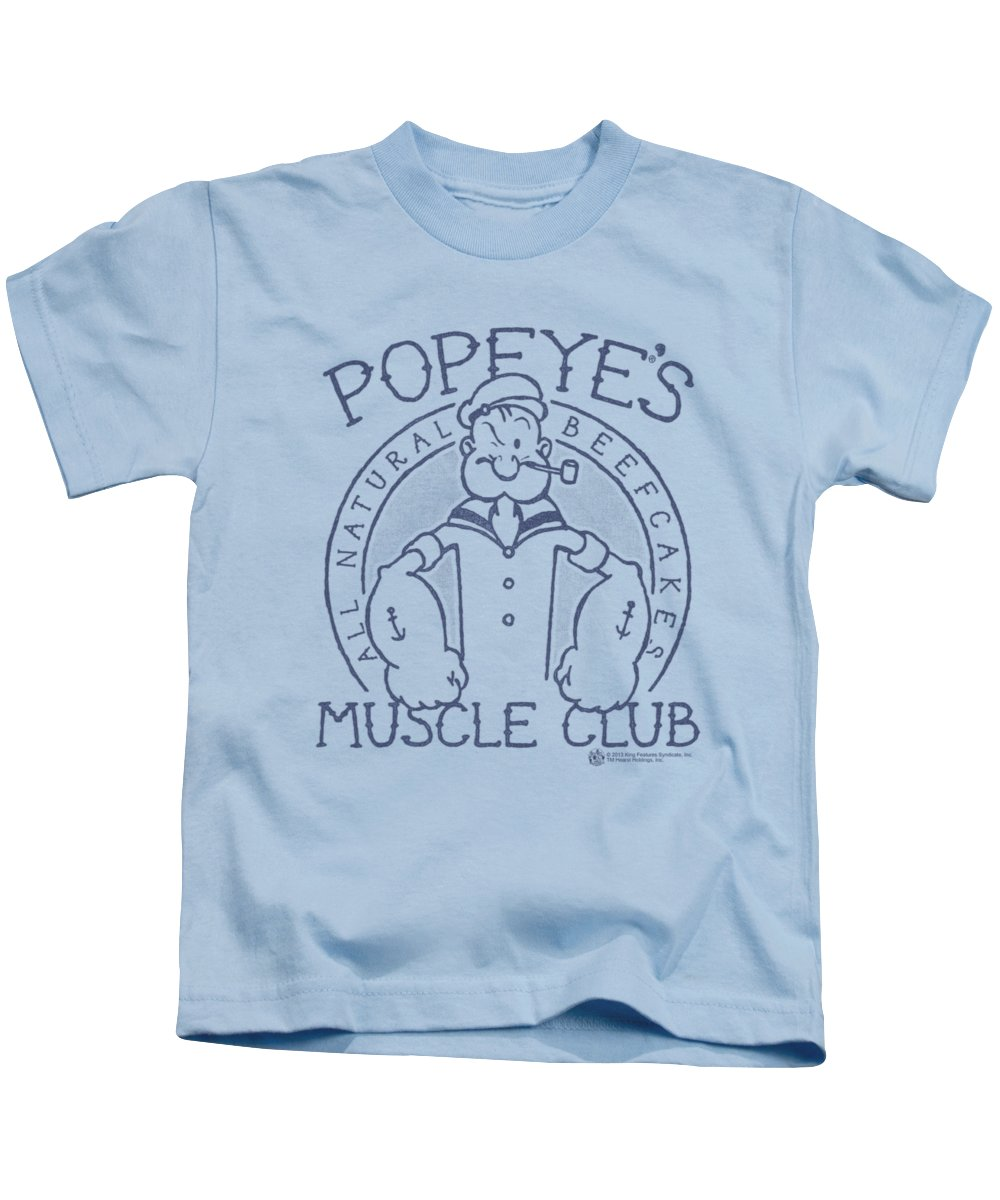 Popeye Kids T-Shirt featuring the digital art Popeye - Muscle Club by Brand A