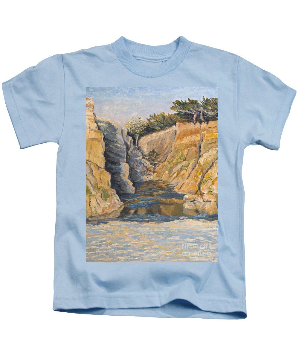 Half Moon Bay Kids T-Shirt featuring the painting Poplar Cove by Catherine Moore