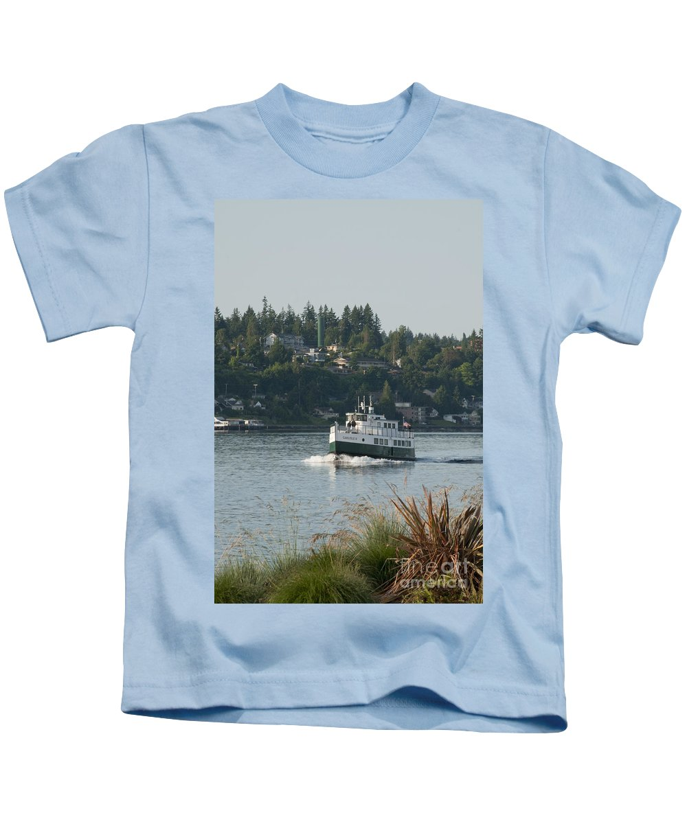 Boats Kids T-Shirt featuring the photograph Port Orchard Foot Ferry by Davina Parypa