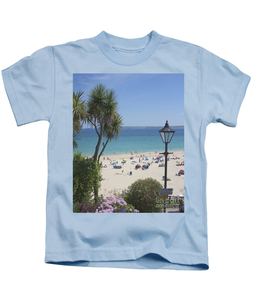 Porthminster Kids T-Shirt featuring the photograph Porthminster Cornwall by Terri Waters