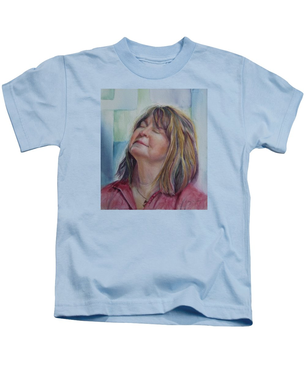 Commission Kids T-Shirt featuring the painting Portrait Of Peg by Mary Beglau Wykes