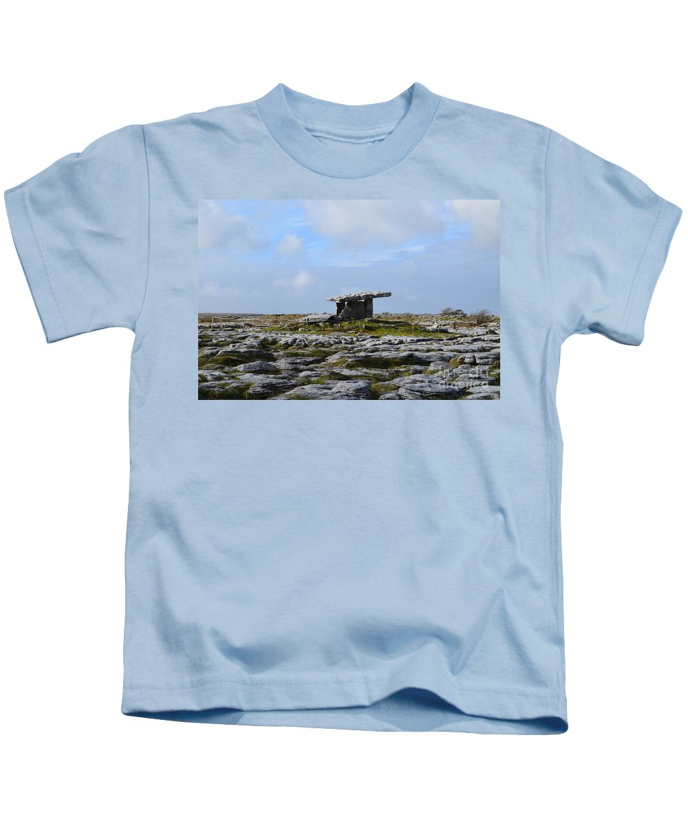 Poulnabrone Portal Tomb Kids T-Shirt featuring the photograph Poulnabrone Portal Tomb by DejaVu Designs