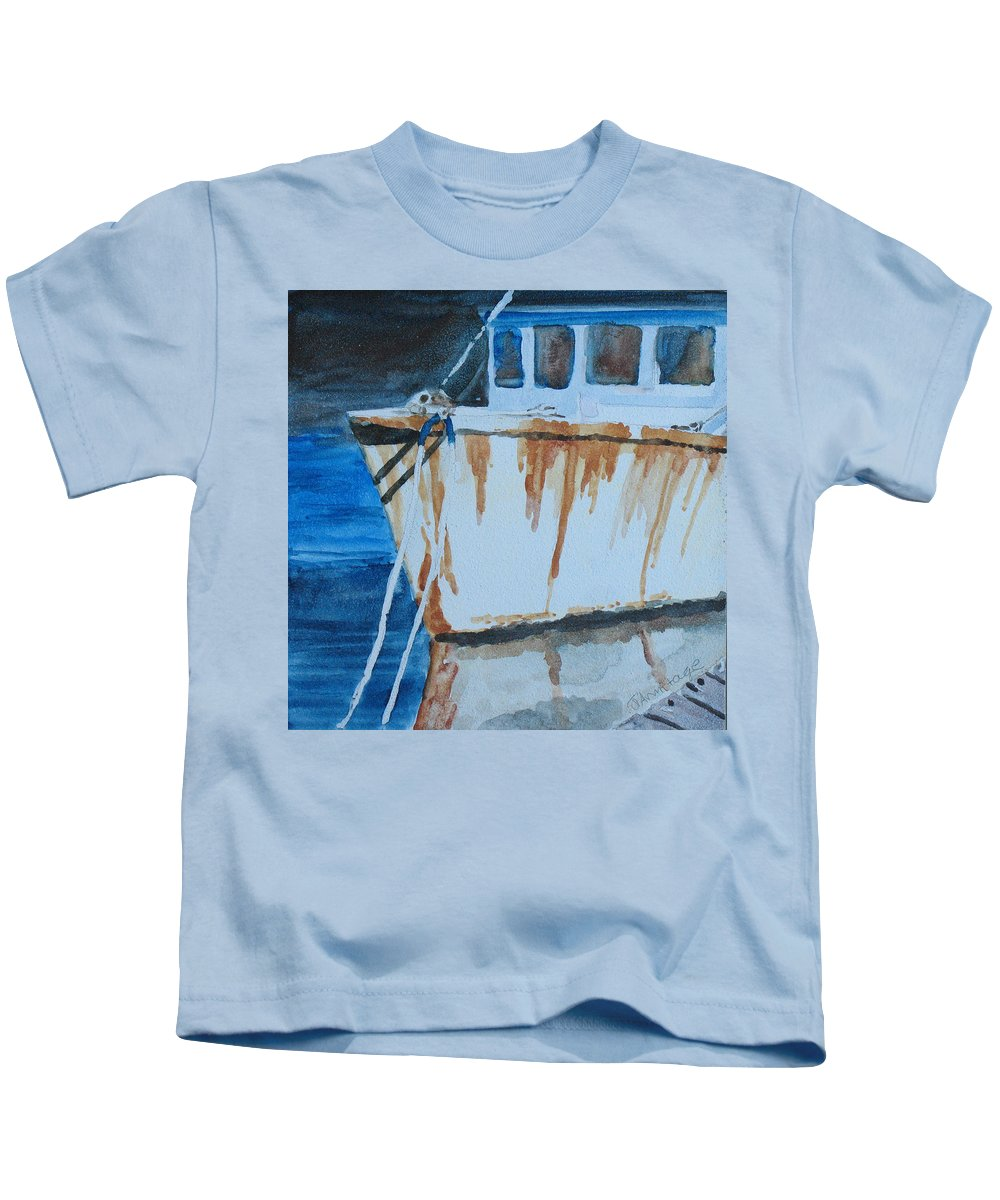 Boat Kids T-Shirt featuring the painting Prow Reflected by Jenny Armitage