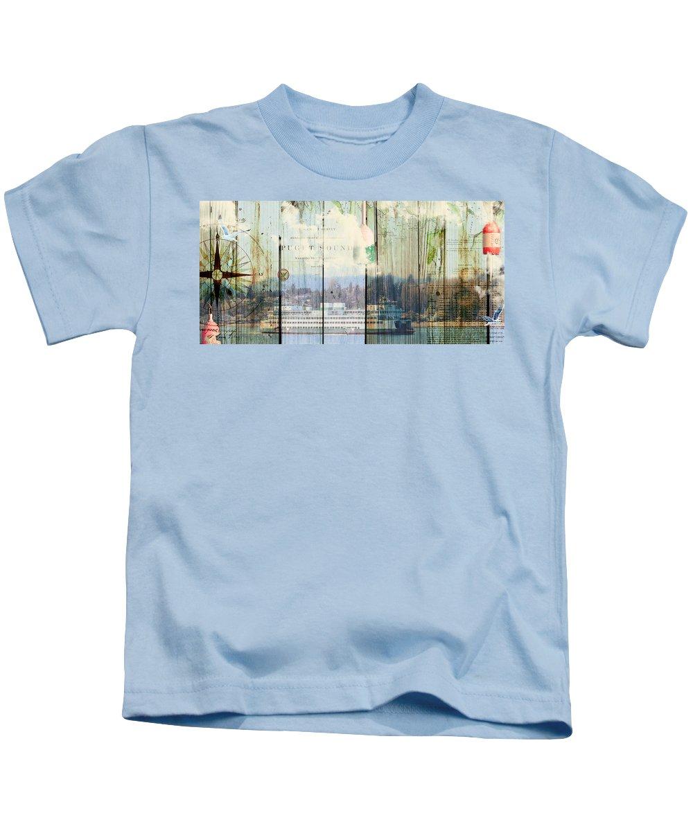 Sandy Lloyd Kids T-Shirt featuring the mixed media Puget Sound by Sandy Lloyd