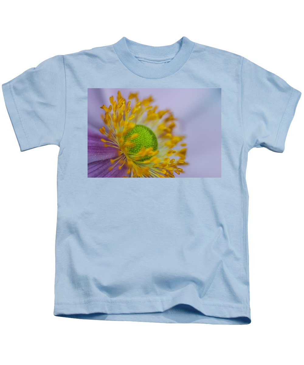 Flora Kids T-Shirt featuring the photograph Purple Pastel Daisy by Gareth Burge Photography