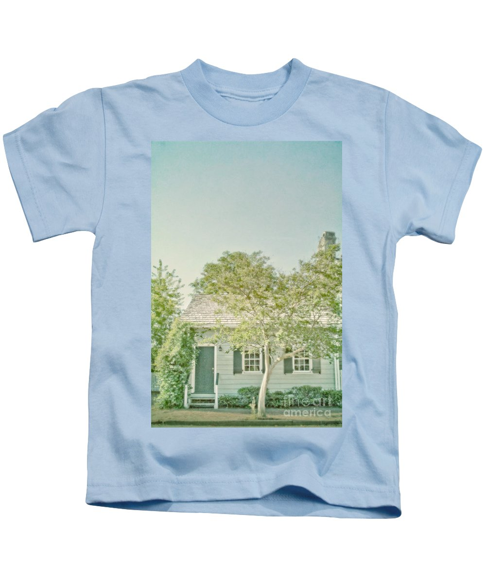 House; Home; Exterior; Outside; Outdoors; Steps; Stairs; Staircase; Wood; Rail; Porch; Railing; Front; Windows; Siding; Door; Entrance; Facade; Entry; Plants; Green; Nature; Welcome; Lovely; Beautiful; Ranch; Shutters; Trees; Yard; Sky; Small; Quaint Kids T-Shirt featuring the photograph Quaint Home by Margie Hurwich