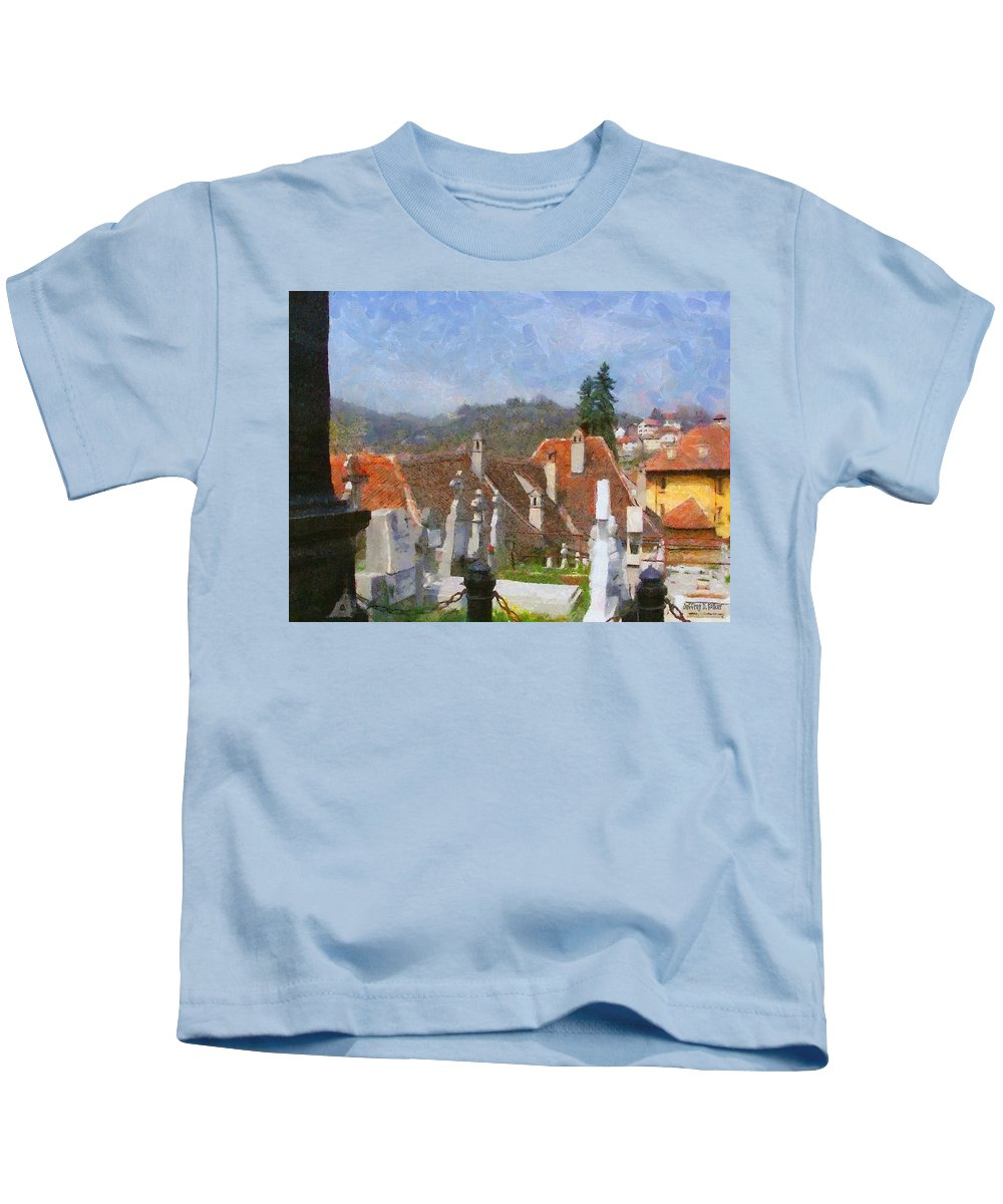 Architecture Kids T-Shirt featuring the painting Quiet Neighbors by Jeffrey Kolker