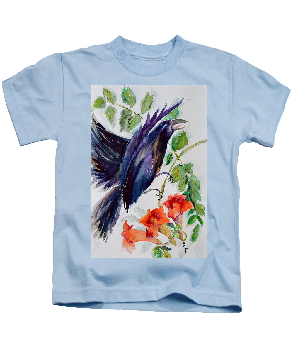 Crow Kids T-Shirt featuring the painting Quoi II by Beverley Harper Tinsley