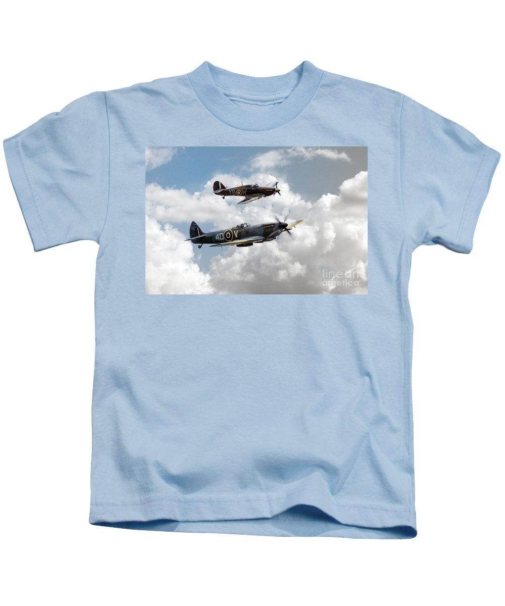 Bbmf Spitfire Kids T-Shirt featuring the digital art Raf Fighting Pair by J Biggadike