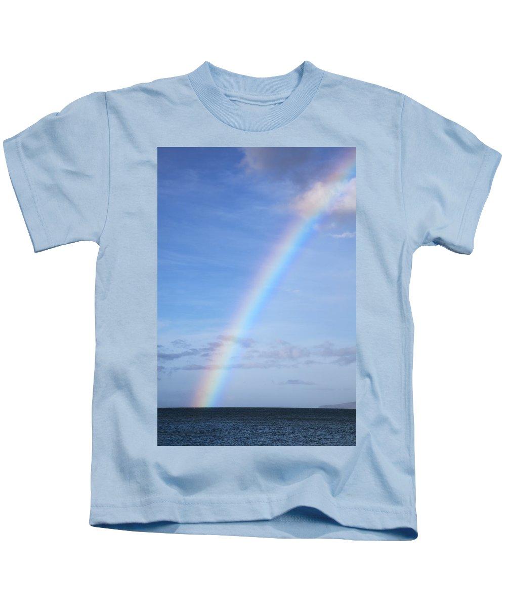 Angle Kids T-Shirt featuring the photograph Rainbow Over Ocean by Jenna Szerlag