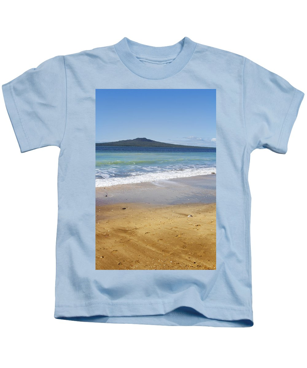 New Zealand Kids T-Shirt featuring the photograph Rangitoto by Les Cunliffe