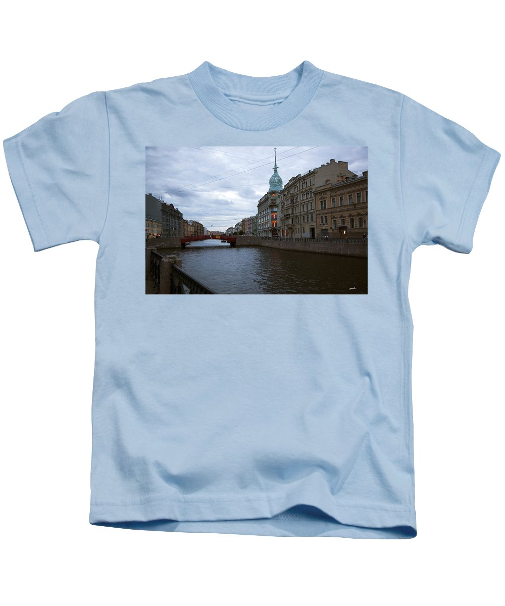 Moika River Kids T-Shirt featuring the photograph Red Bridge View - St. Petersburg - Russia by Madeline Ellis