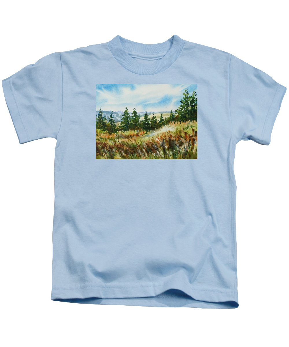 Pine Trees Kids T-Shirt featuring the painting Red Rock View Road by Lynne Haines