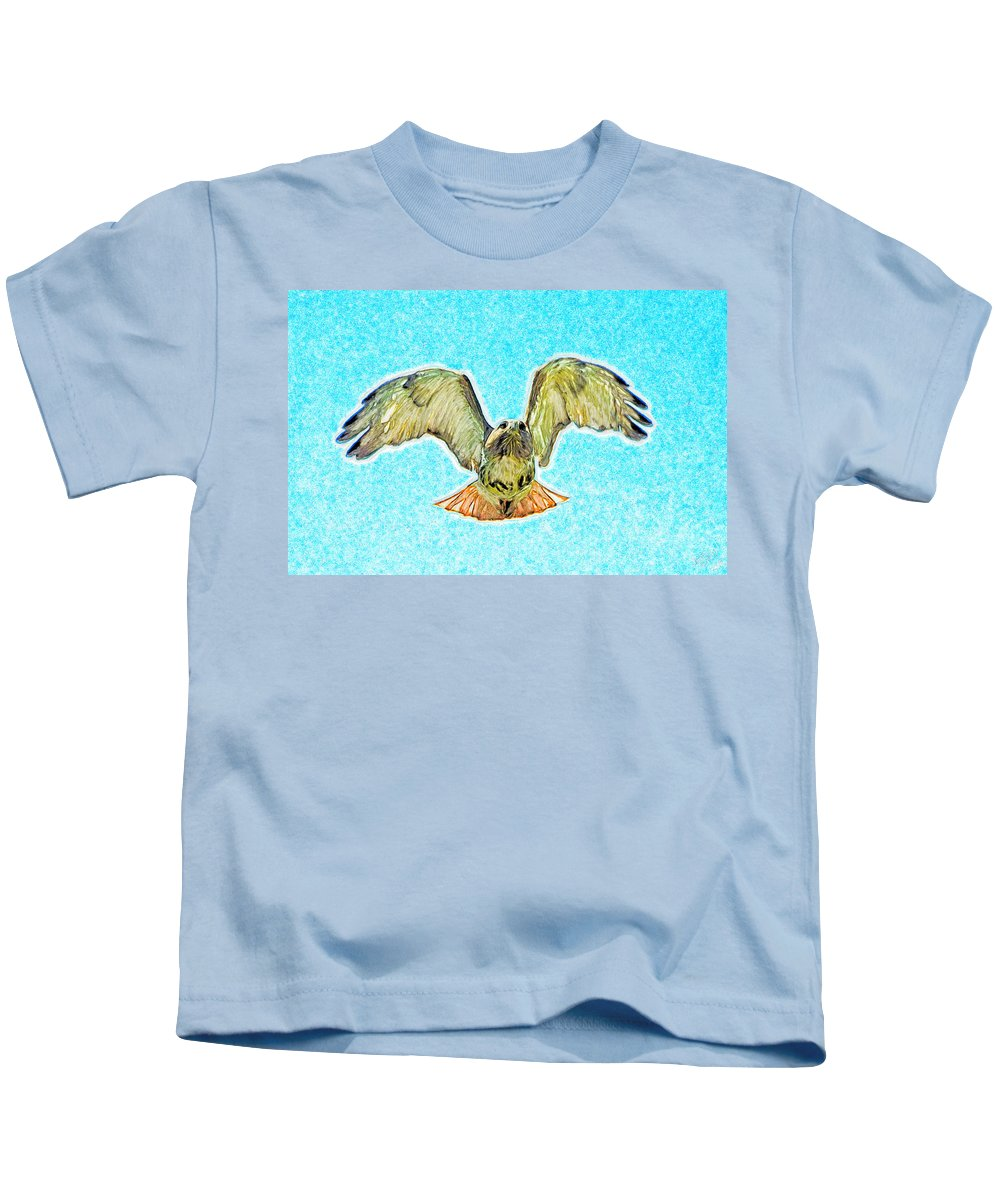 Sky Kids T-Shirt featuring the painting Red Tail Hawk by Bruce Nutting