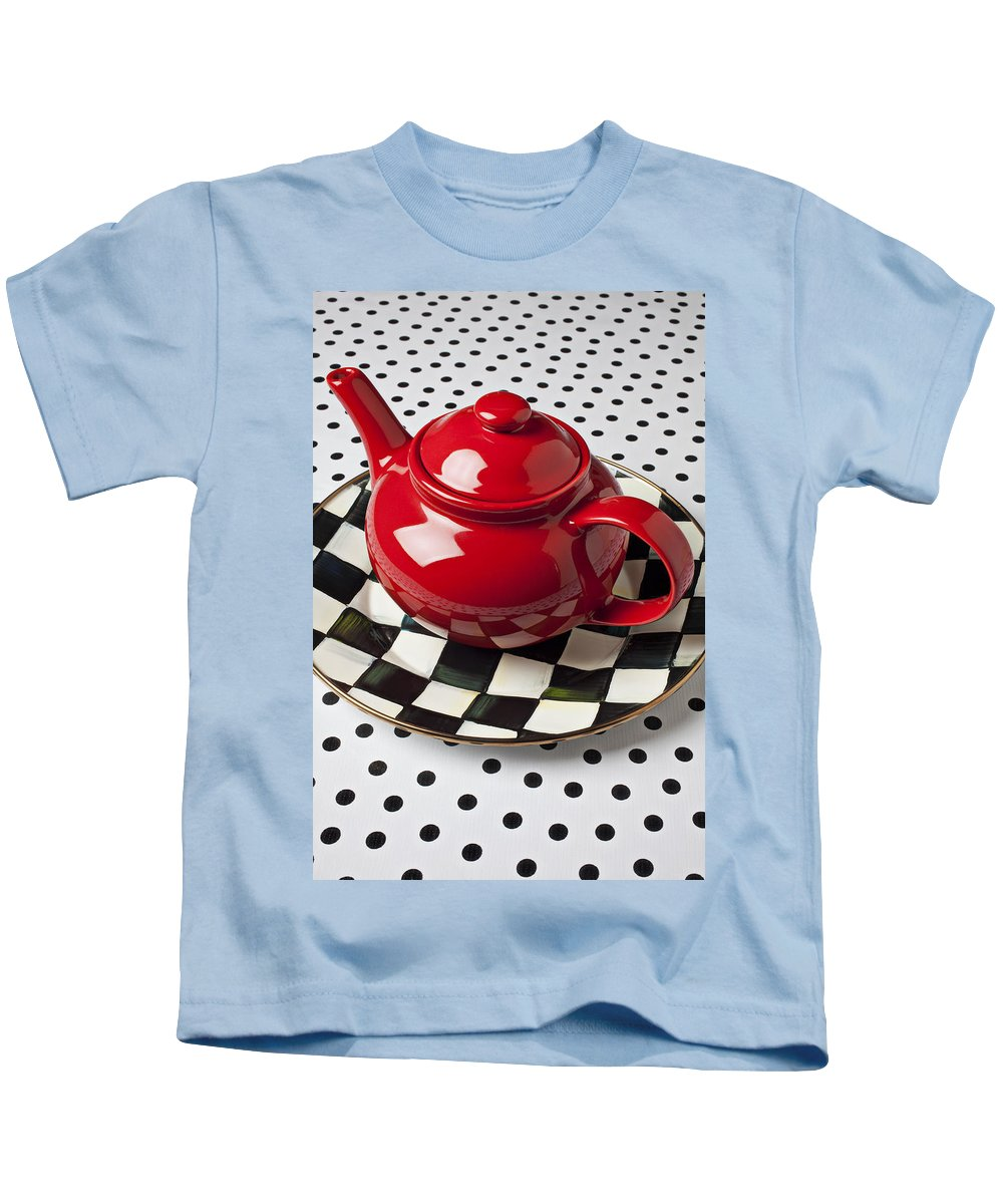 Teapot Kids T-Shirt featuring the photograph Red Teapot On Checkerboard Plate by Garry Gay