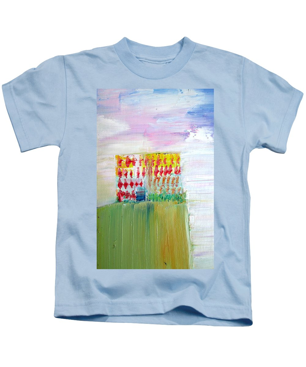 Refuge Kids T-Shirt featuring the painting Refuge On The Cliff by Fabrizio Cassetta