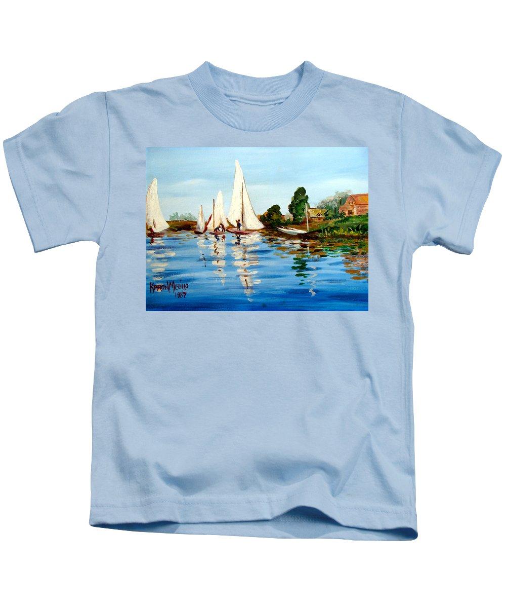 Art Kids T-Shirt featuring the painting Regatta De Argenteuil by Karon Melillo DeVega