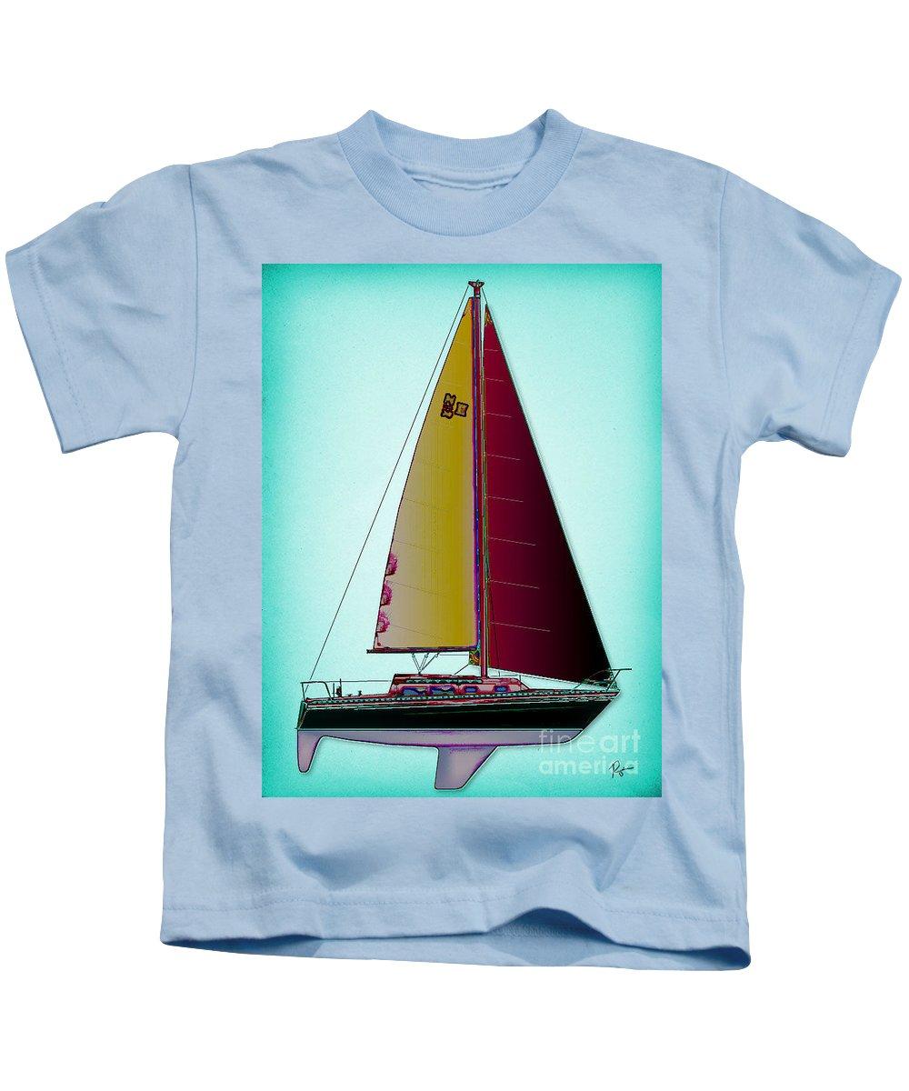 Regina Gallant Kids T-Shirt featuring the drawing Retro Newport3 by Regina Marie Gallant