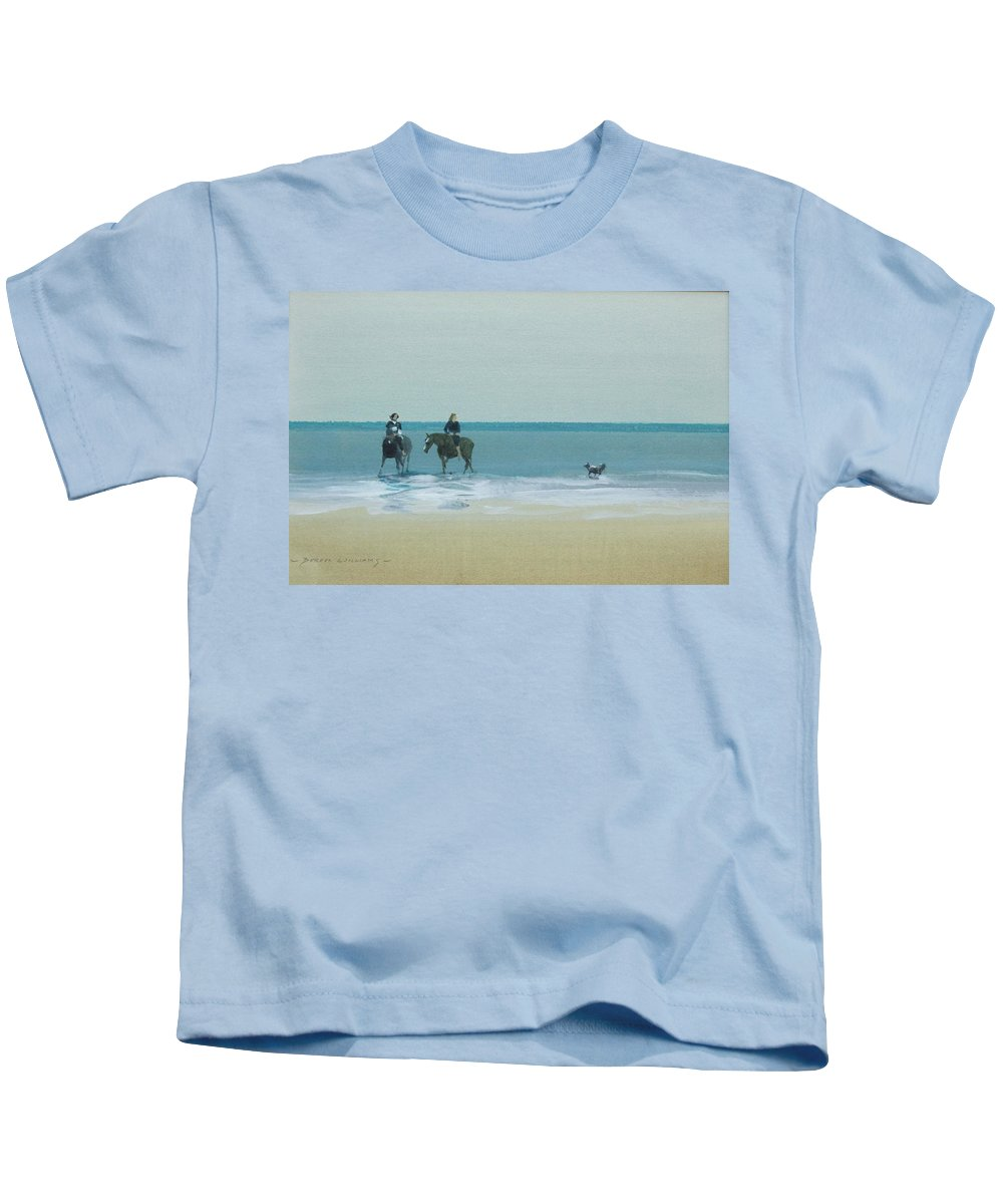 Horses Kids T-Shirt featuring the pastel Riders On The Beach by Derek Williams