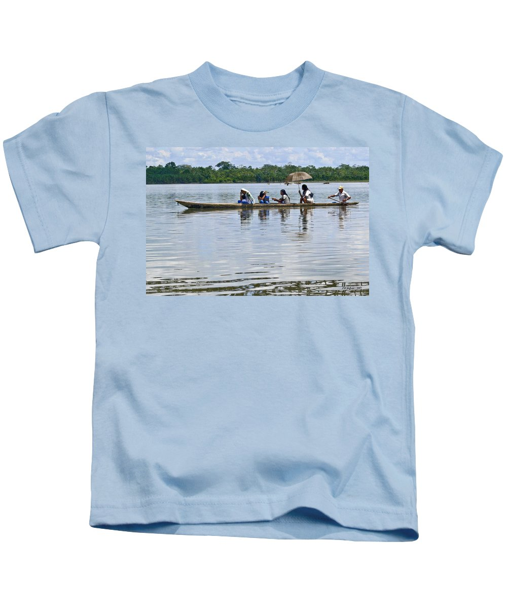 Rio Napo Kids T-Shirt featuring the photograph Rio Napo Taxi by Allen Sheffield