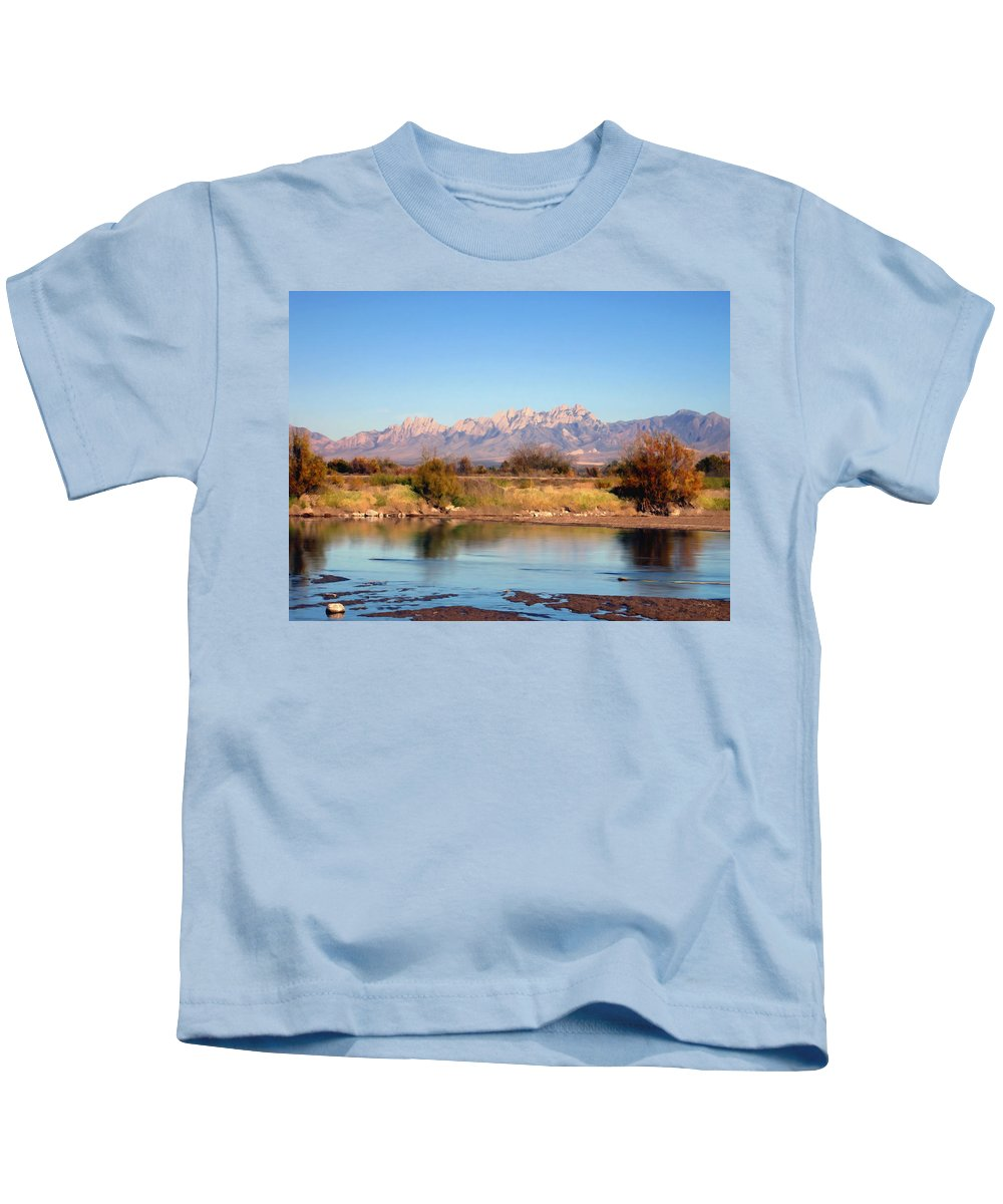 River Kids T-Shirt featuring the photograph River View Mesilla by Kurt Van Wagner