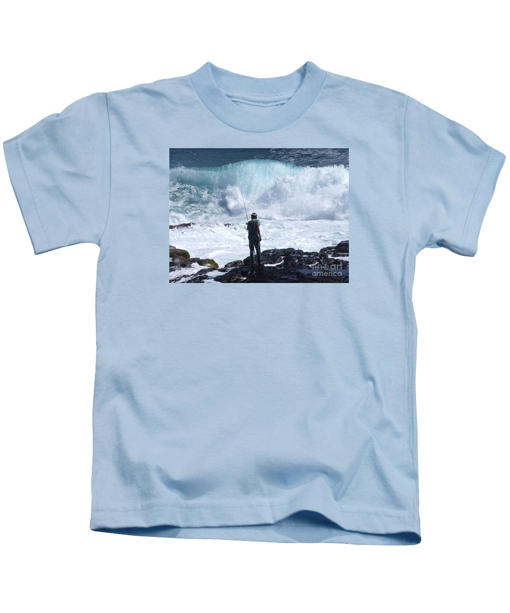 Fishing Kids T-Shirt featuring the photograph Rock Fisherman by Mary Deal