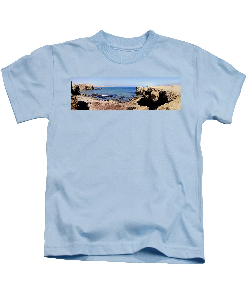 Photography Kids T-Shirt featuring the photograph Rock Formations On The Beach, Marcona by Panoramic Images