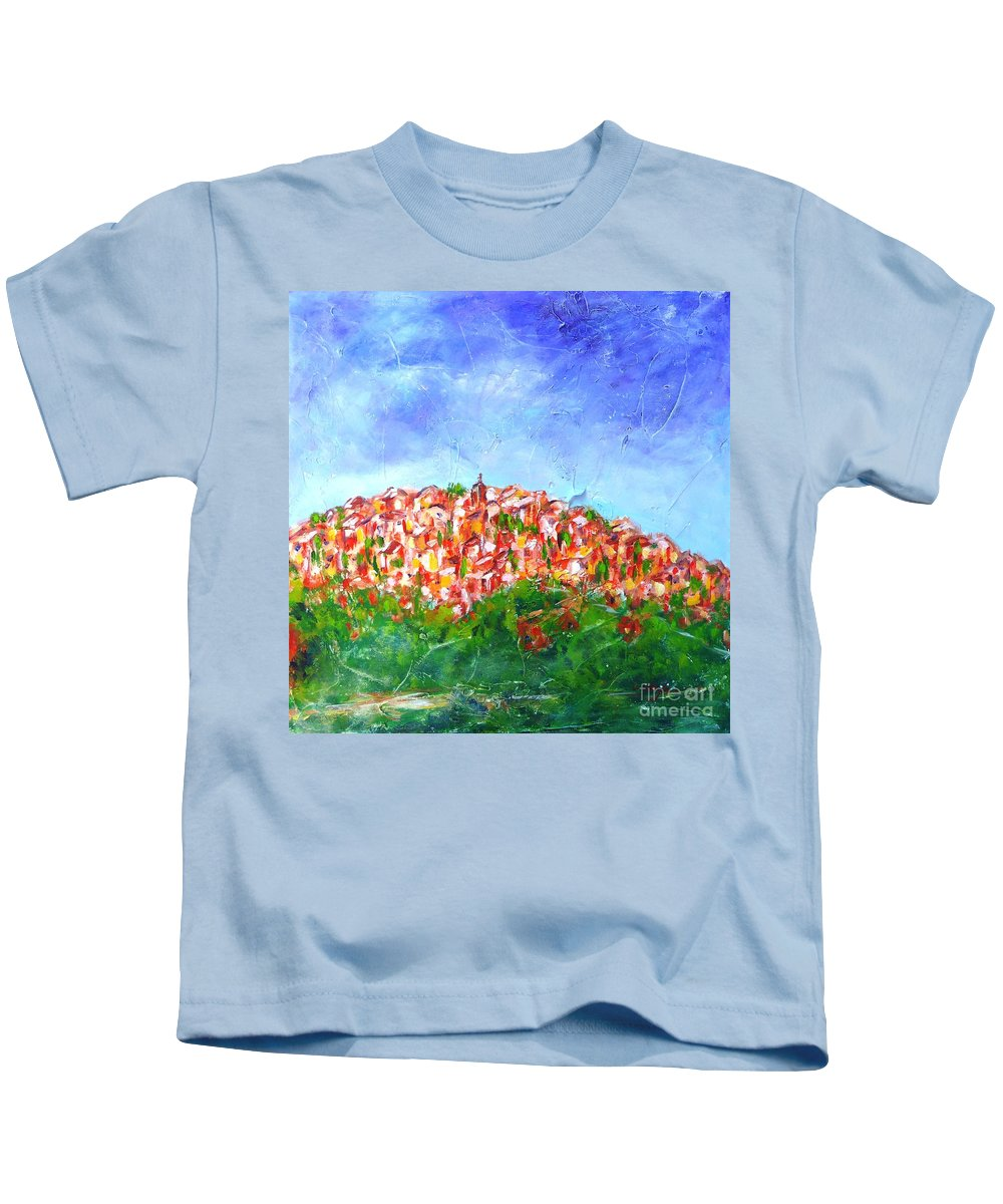 Provence Kids T-Shirt featuring the painting Roussillon Village by Cristina Stefan